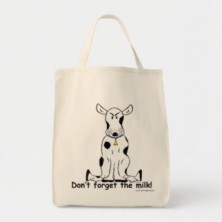 Crabby grouchy cow grocery shopping bag!! grocery tote bag