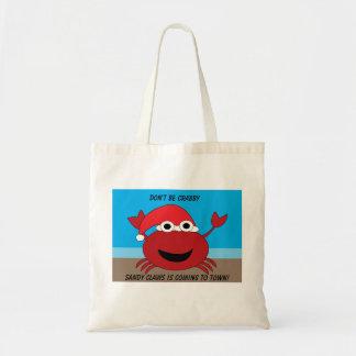 Crabby Sandy Claws Crab Funny Chrismtas Custom Tote Bag