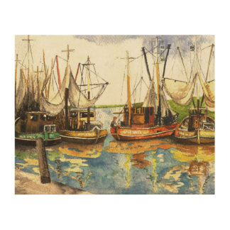 Crabfishing Boats Wood Wall Decor