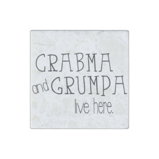 Crabma and Grumpa Live Here Marble Magnet
