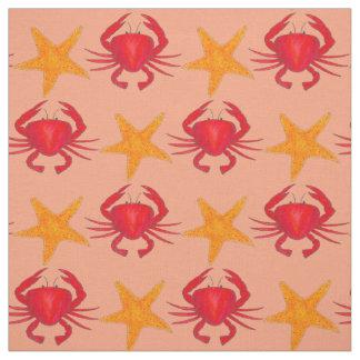 Crabs and Starfish Marine Ocean Life Beach Fabric