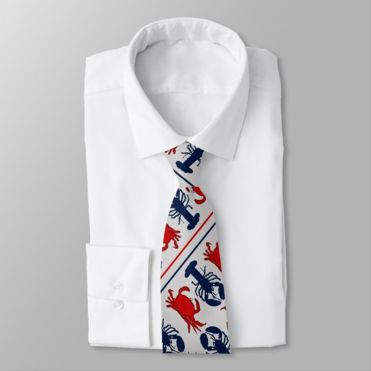 Crabs n Lobsters Light Grey Diagonal Print Tie