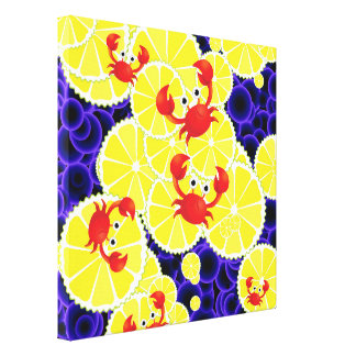 Crabs on lemon gallery wrap canvas