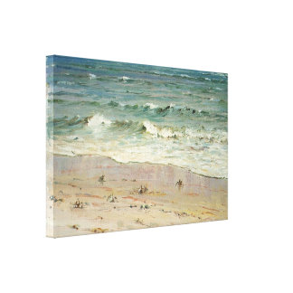 Crabs on the Beach by D. Howard Hitchcock Stretched Canvas Print