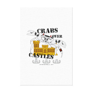 Crabs over Castles Stretched Canvas Print