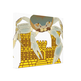 Crabs over cracked castles gallery wrap canvas