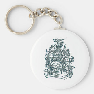 Crabs, Salmon and Whitebait in Stream Basic Round Button Key Ring