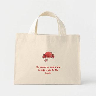 Crabs to the beach mini tote bag