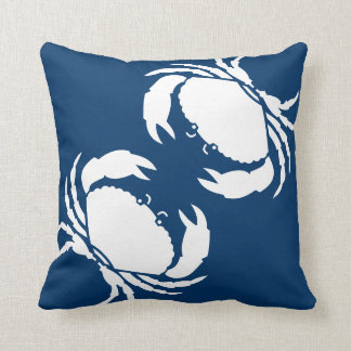 CRABS WHITE on blue pillow