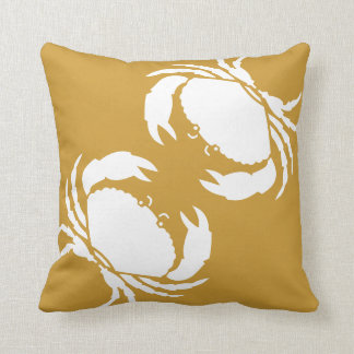 CRABS WHITE on brown pillow