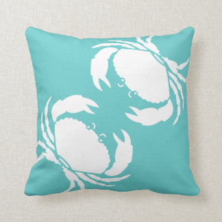 CRABS WHITE on teal blue pillow