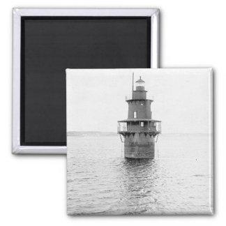 Crabtree Ledge Lighthouse Square Magnet