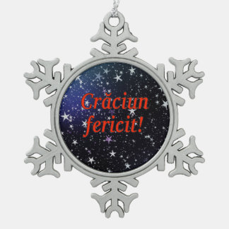 Crăciun fericit! Merry Christmas in Romanian rf Pewter Snowflake Decoration