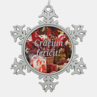 Crăciun fericit! Merry Christmas in Romanian wf Pewter Snowflake Decoration
