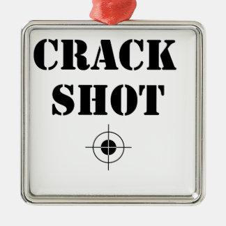 crack shot Silver-Colored square decoration