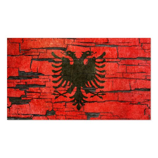 Cracked Albanian Flag Peeling Paint Effect Business Card Template