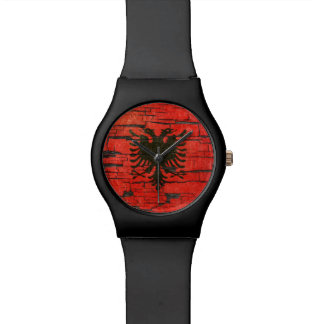 Cracked Albanian Flag Peeling Paint Effect Wristwatch