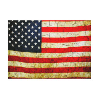 Cracked American flag Canvas Print
