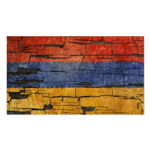 Cracked Armenian Flag Peeling Paint Effect Business Cards