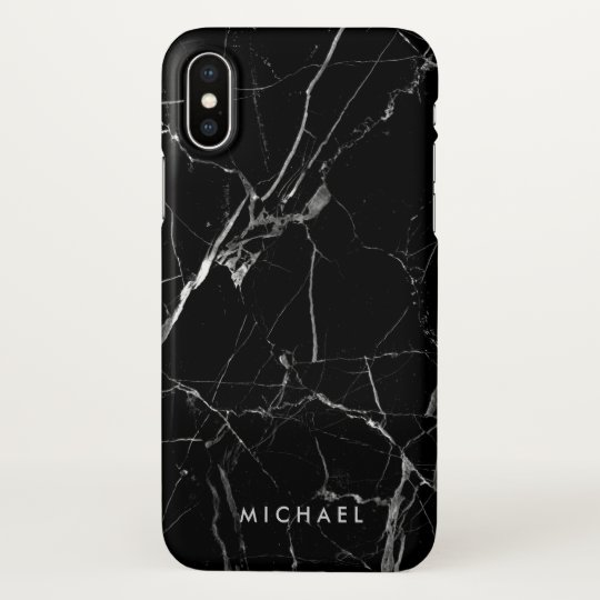 Cracked Black Marble Texture Personalised Name iPhone X