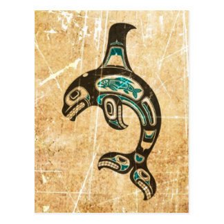 Cracked Blue and Black Haida Spirit Killer Whale Postcard