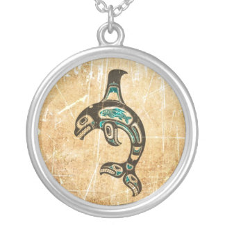 Cracked Blue and Black Haida Spirit Killer Whale Silver Plated Necklace