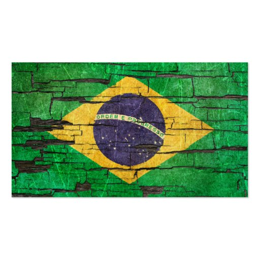 Cracked Brazilian Flag Peeling Paint Effect Business Card Template