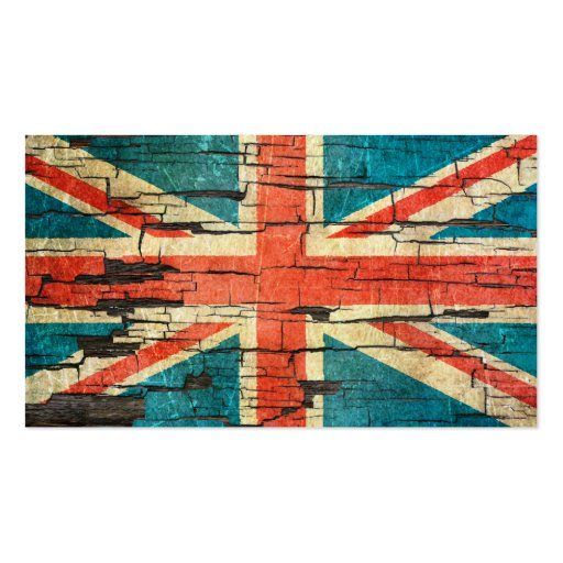 Cracked British Flag Peeling Paint Effect Business Card