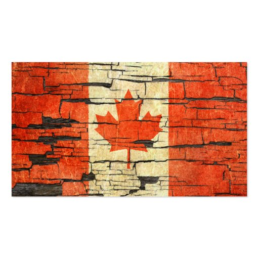 Cracked Canadian Flag Peeling Paint Effect Business Card Template