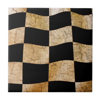 Cracked chequered flag small square tile