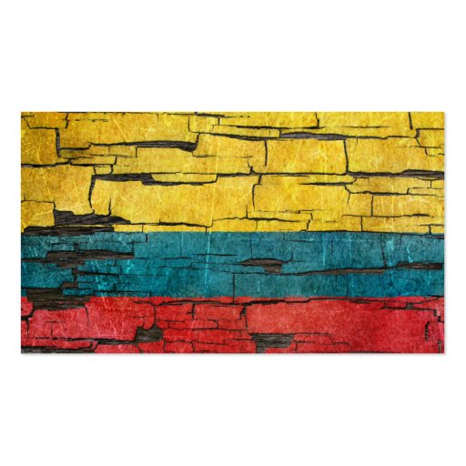 Cracked Colombian Flag Peeling Paint Effect Business Card Templates