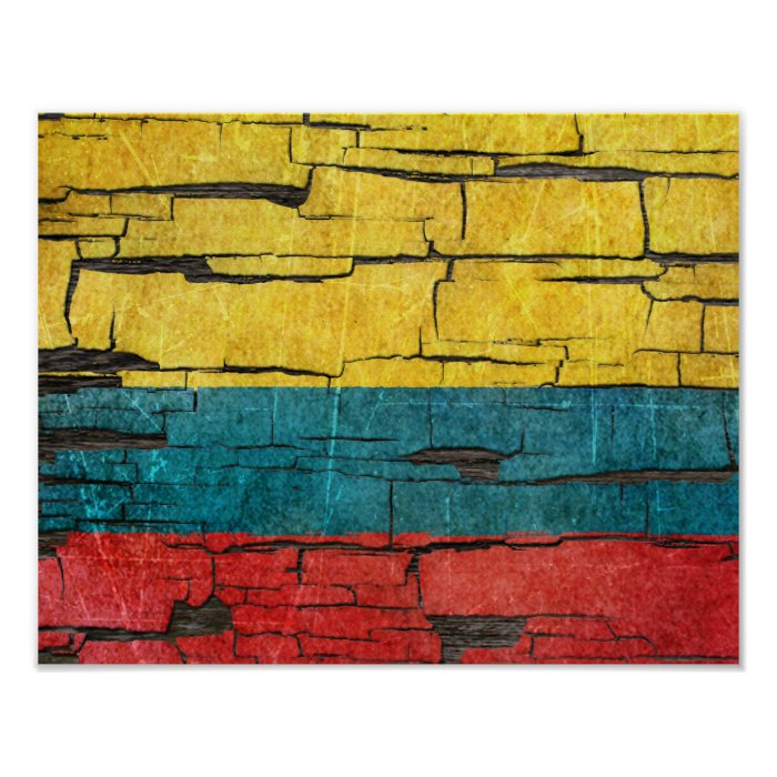 Cracked Colombian Flag Peeling Paint Effect Poster | Zazzle