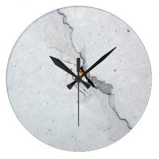 Cracked concrete clock