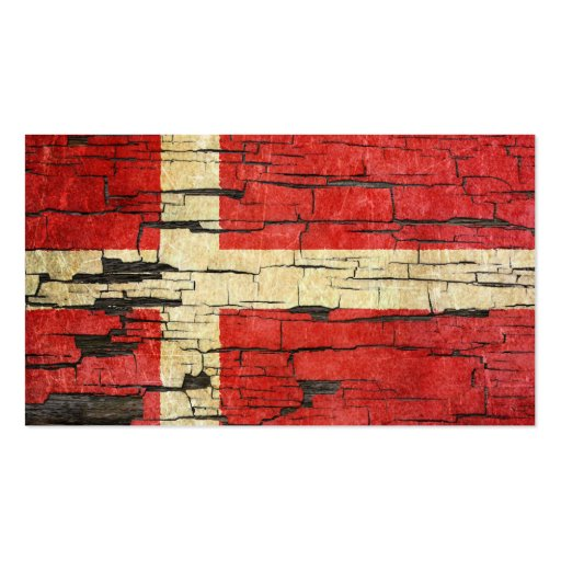 Cracked Danish Flag Peeling Paint Effect Business Cards