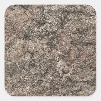 Cracked Dry Desert Ground Floor Texture Background Square Sticker