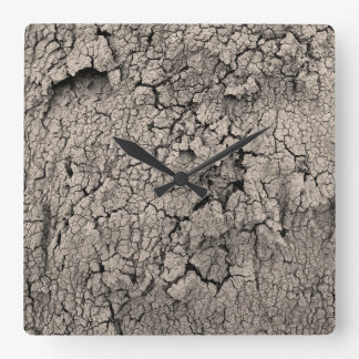 Cracked Earth Dirt Cool Texture Square Wall Clock
