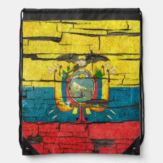 Cracked Ecuadorian Flag Peeling Paint Effect Drawstring Backpack