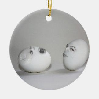 Cracked Egg and Wink Round Ceramic Decoration