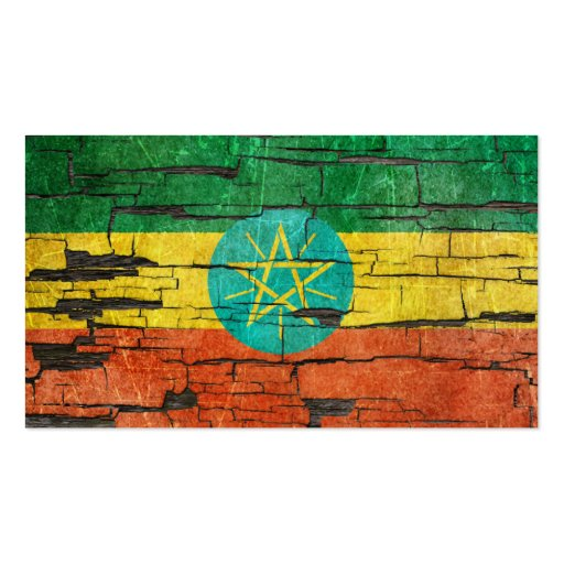 Cracked Ethiopian Flag Peeling Paint Effect Business Card Template