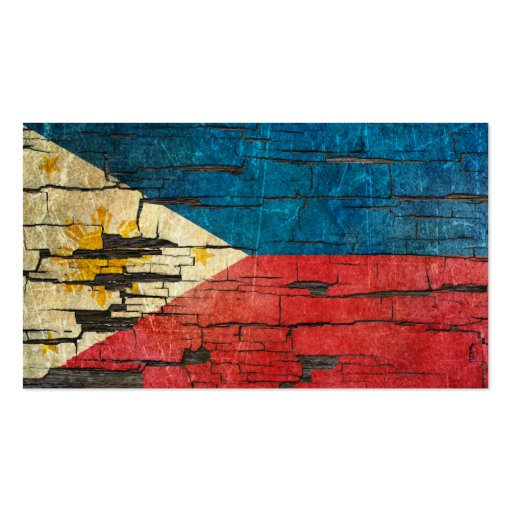 Cracked Filipino Flag Peeling Paint Effect Business Card Templates