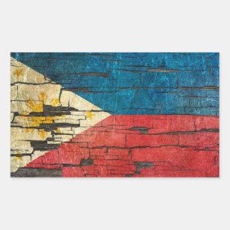 Cracked Filipino Flag Peeling Paint Effect Sticker