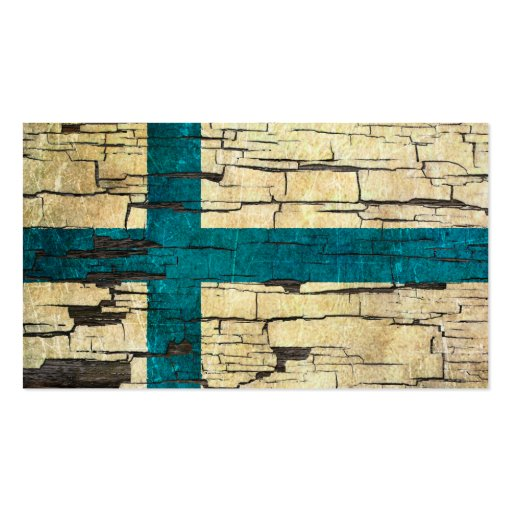 Cracked Finnish Flag Peeling Paint Effect Business Card Template