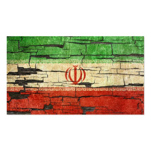 Cracked Iranian Flag Peeling Paint Effect Business Card Template