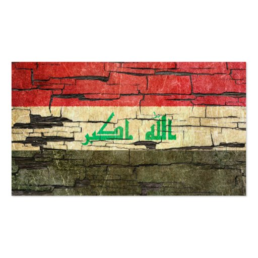 Cracked Iraqi Flag Peeling Paint Effect Business Card Template