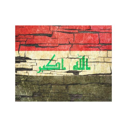 Cracked Iraqi Flag Peeling Paint Effect Stretched Canvas Prints