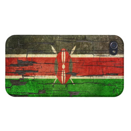 Cracked Kenyan Flag Peeling Paint Effect Covers For iPhone 4