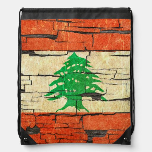 Cracked Lebanese Flag Peeling Paint Effect Drawstring Bag