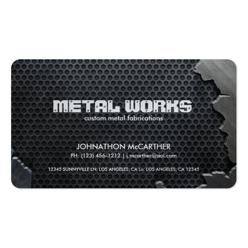 Cracked Metal and Mesh Business Card Template