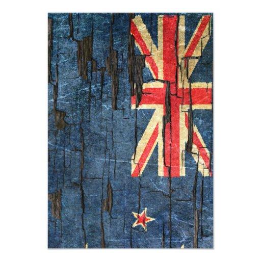 Cracked New Zealand Flag Peeling Paint Effect Custom Invitations