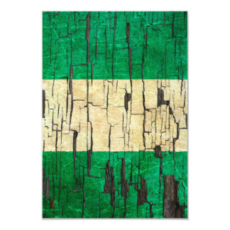 Cracked Nigerian Flag Peeling Paint Effect 3.5x5 Paper Invitation Card
